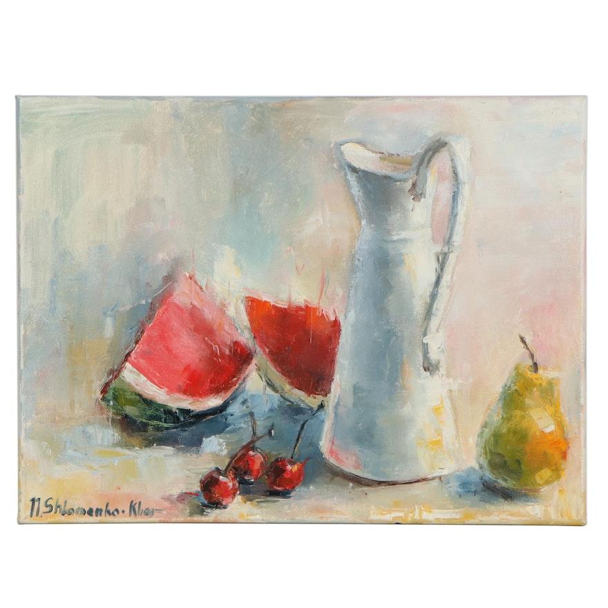 "Nataliya Shlomenko Impressionist Oil Painting ""Still Life with Watermelon,"" 2019"