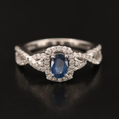 14K Sapphire and Diamond Ring with Twist Shoulders