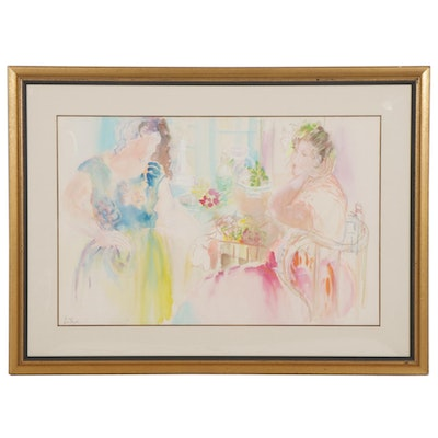 Batia Magal Watercolor Painting with Pastels of Two Women at Cafe