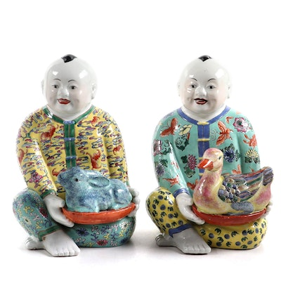 Chinese Children Porcelain Figurines, Mid to Late 20th Century