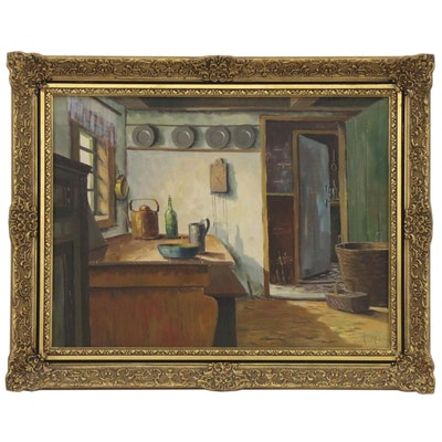 Interior Kitchen Scene Oil Painting, Late 20th Century