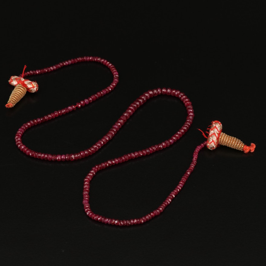 Beaded Ruby Lasso Necklace