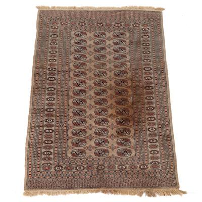 4'1 x 6'5 Hand-Knotted Pakistani Turkmen Bokhara Wool Rug