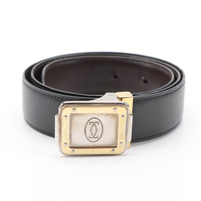 Cartier Reversible Black/Brown Leather Belt with Santos Two-Tone Buckle