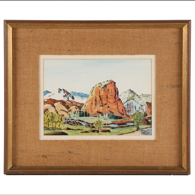 Mountain Landscape Watercolor Painting, Mid to Late 20th Century