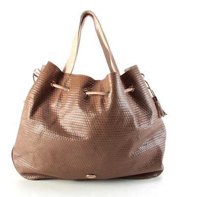 Emporio Armani Embossed Bicolor Leather Drawstring Tote Bag