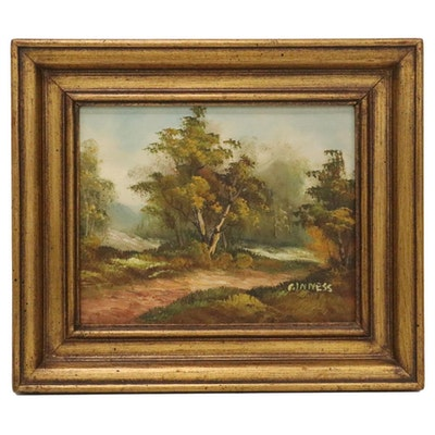 Autumn Landscape Oil Painting, Mid-20th Century