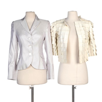 Akris Tiered Goat Leather and Striped Silk Jackets