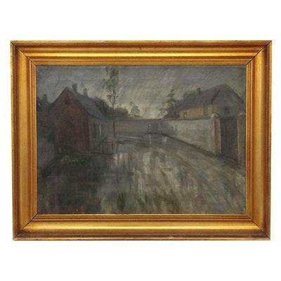 Street Scene Landscape Oil Painting, 1919