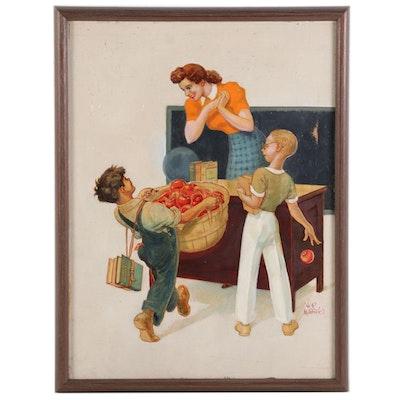 Hubbell Reed McBride School Scene Oil Illustration, Mid-20th Century
