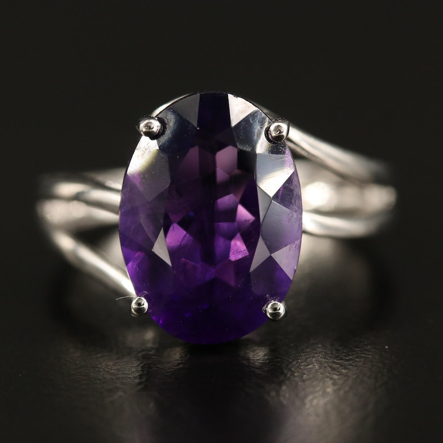 Sterling Amethyst Bypass Ring