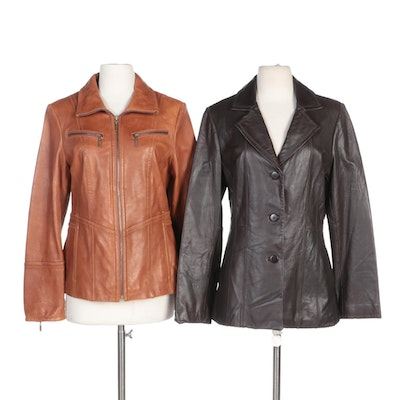Avanti Leather Jacket with Top Stitching and Anne Klein Cognac Leather Jacket