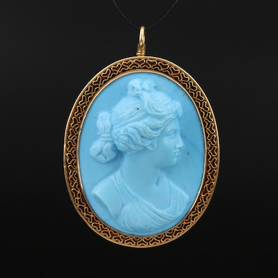 1930s 14K Glass Oval Cameo Converter Brooch