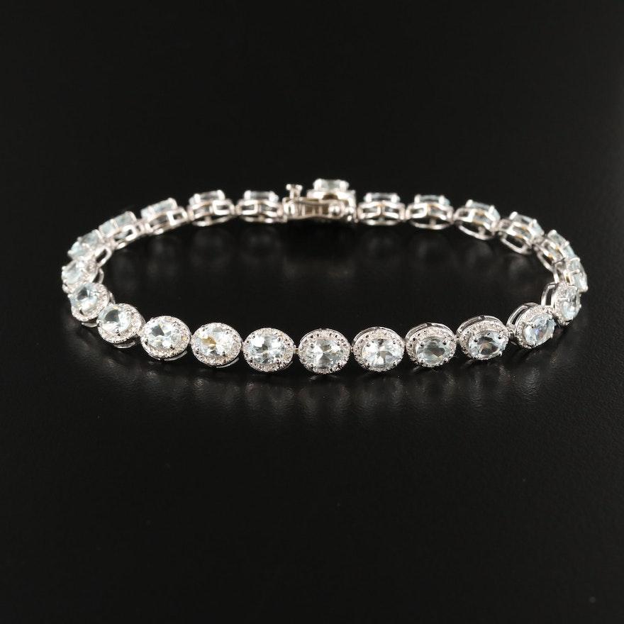 Sterling Silver Aquamarine and Diamond Fancy Link Bracelet