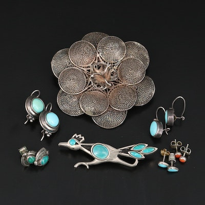 Earrings and Brooches Featuring Turquoise, Coral and Sterling Silver