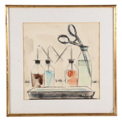 Desire Victor Haine Watercolor Painting with Charcoal of Laboratory Still Life