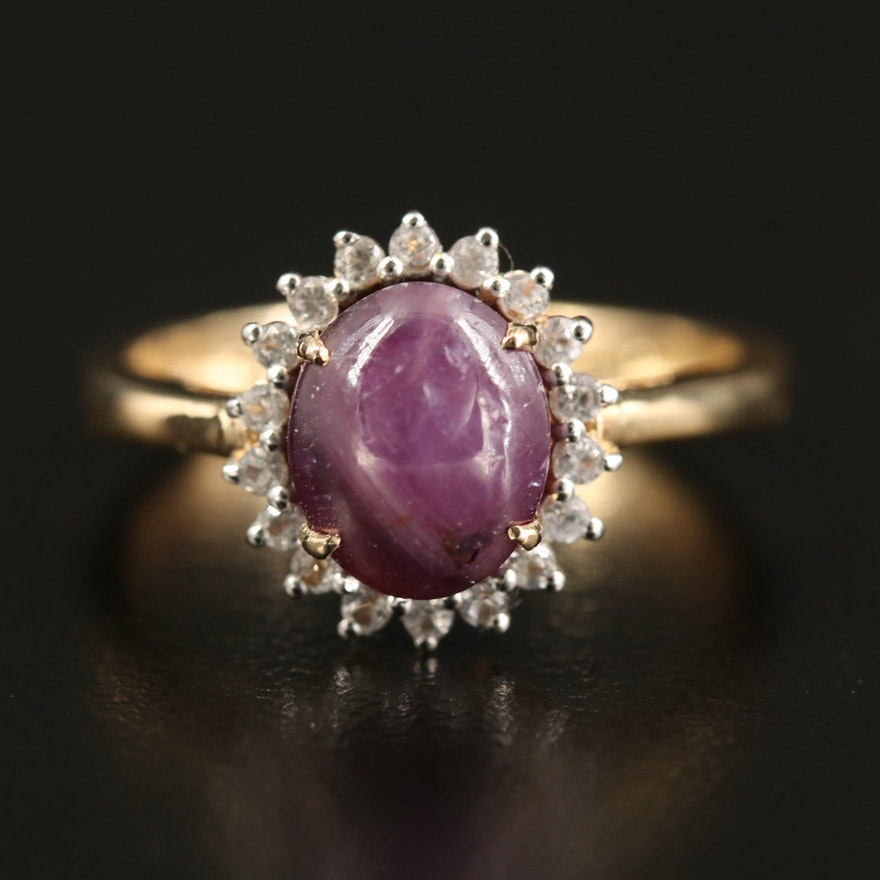 Sterling Star Corundum and Topaz Halo Ring
