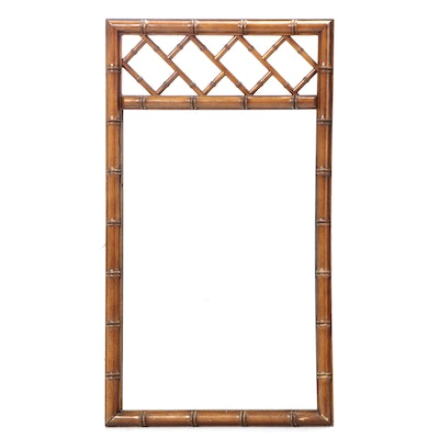 Faux Bamboo Chinese Chippendale Style Framed Wall Mirror, Late 20th Century