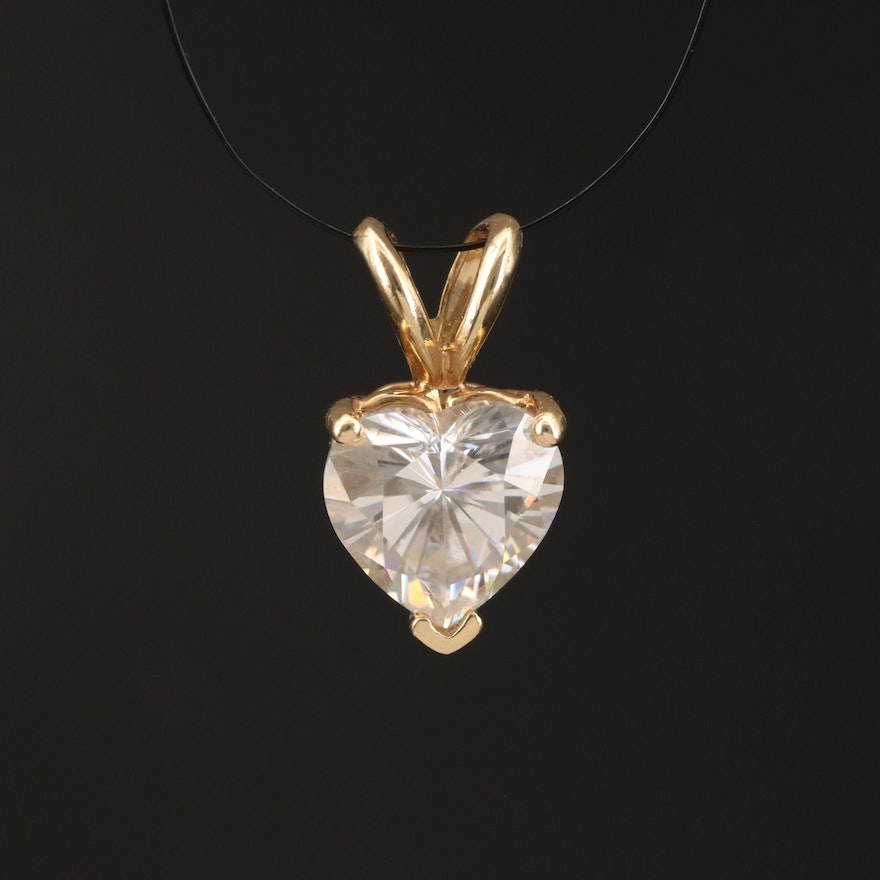 14K Heart Faceted Moissanite Pendant