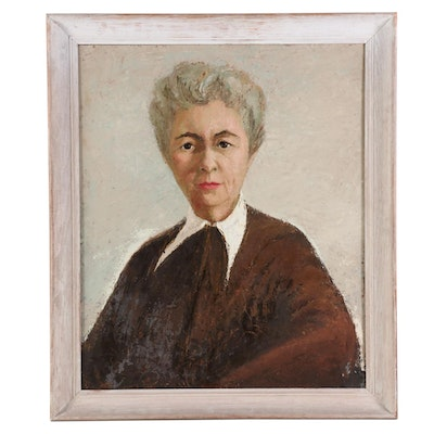 Carolyn Shine Portrait Oil Painting of Elderly Woman, Mid-Late 20th Century