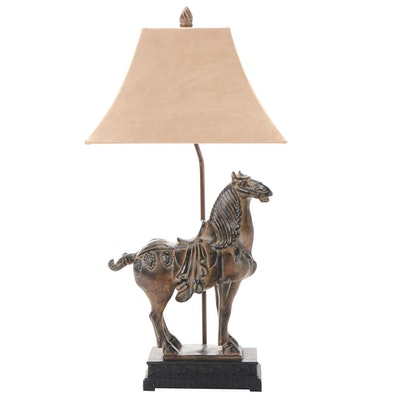 Patinated Tang Style Horse Table Lamp with Ultrasuede Lamp Shade