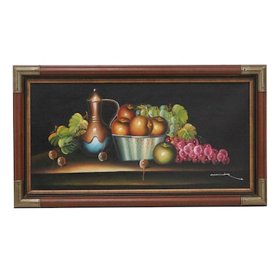 Still Life with Fruit Oil Painting, Late 20th Century