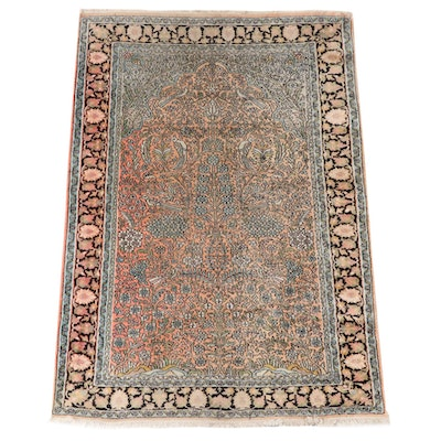 4'1 x 6'2 Hand-Knotted Persian Tabriz Tree of Life Wool Prayer Rug