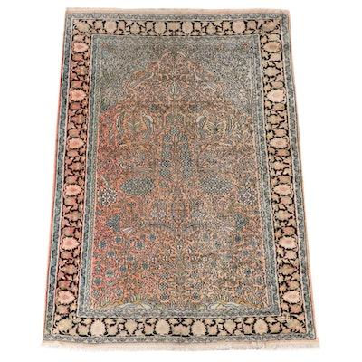 4'1 x 6'2 Hand-Knotted Persian Tabriz Tree of Life Wool Prayer Rug