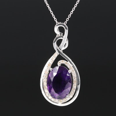 Sterling Silver Amethyst and Diamond Necklace