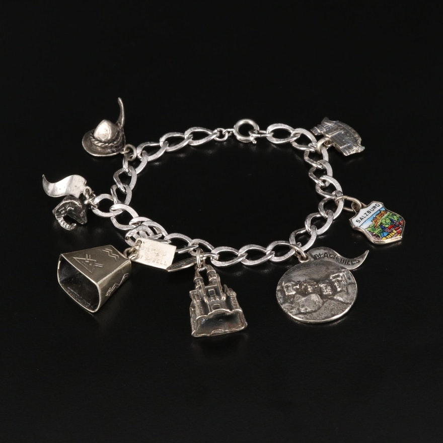 Vintage Sterling and 800 Silver Souvenir Charm Bracelet with Enamel Accents