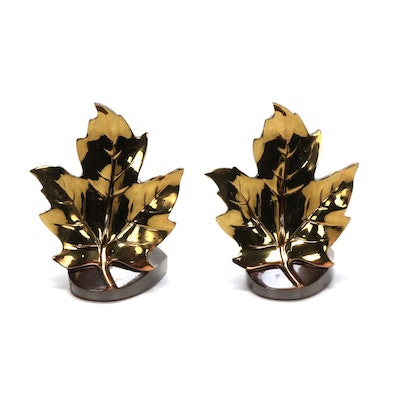 Philadelphia Mfg. Co Polished Brass Maple Leaf Bookends, Mid-20th C.