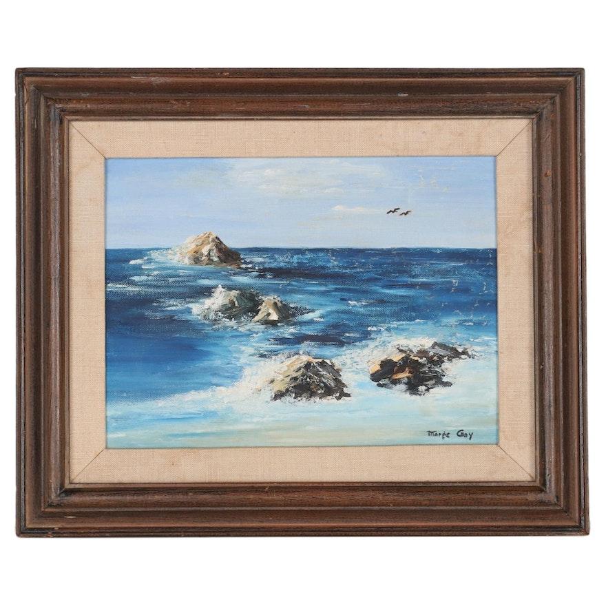 Rocky Coastline Seascape Oil Painting, Mid-20th Century