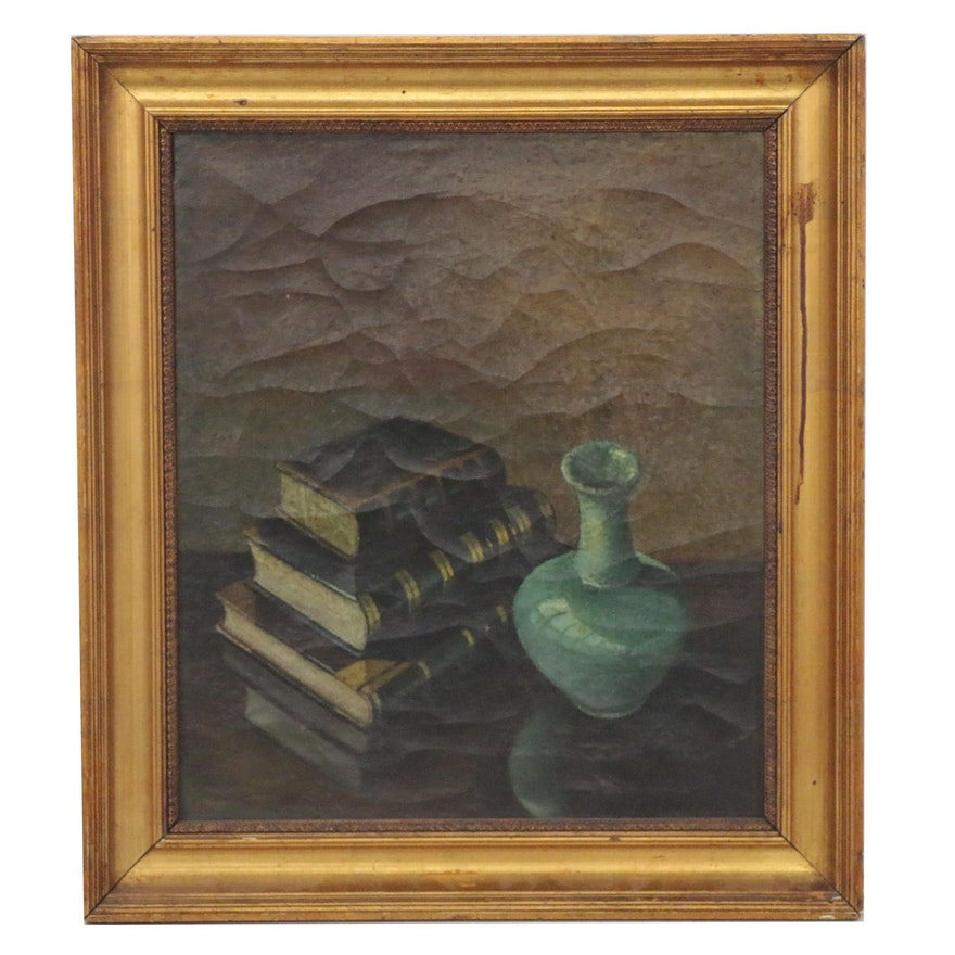 Realist Still Life Oil Painting with Vase and Books, 19th Century