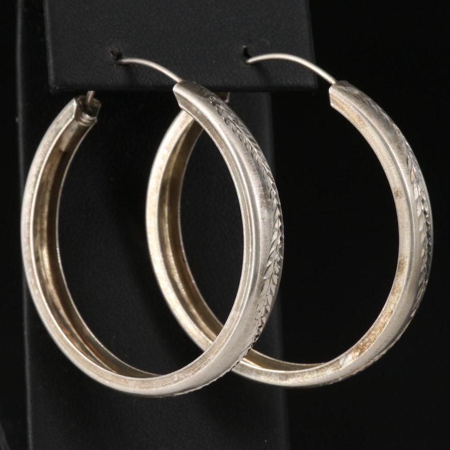 Sterling Silver Engraved Hoop Earrings