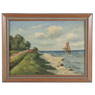 Nautical Beach Scene Oil Painting, Mid-Late 20th Century
