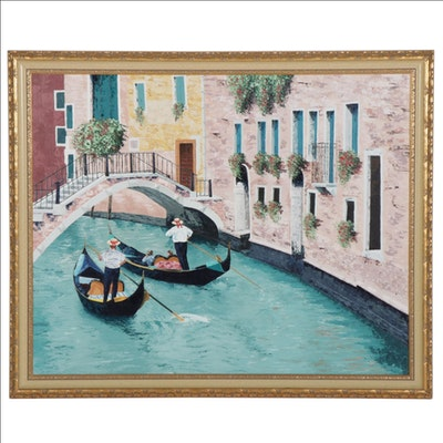 Dan Hoffman Large-Scale Oil Painting of Venetian Canal Scene with Gondolas