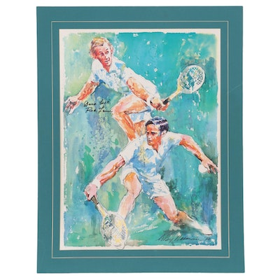 Rod Laver Signed Offset Lithograph after LeRoy Neiman