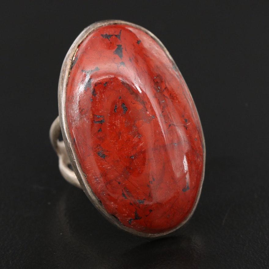 Sterling Silver Bezel Set Jasper Ring with Split Shoulders