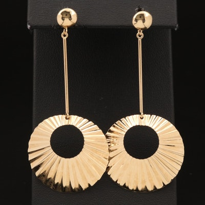 14K Geometric Drop Earrings