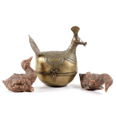 Indian Brass Peacock Dhokra Box and Resin Duckling Figurines