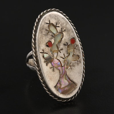 Mexican Sterling Silver Abalone and Coral Stylized Cactus Ring