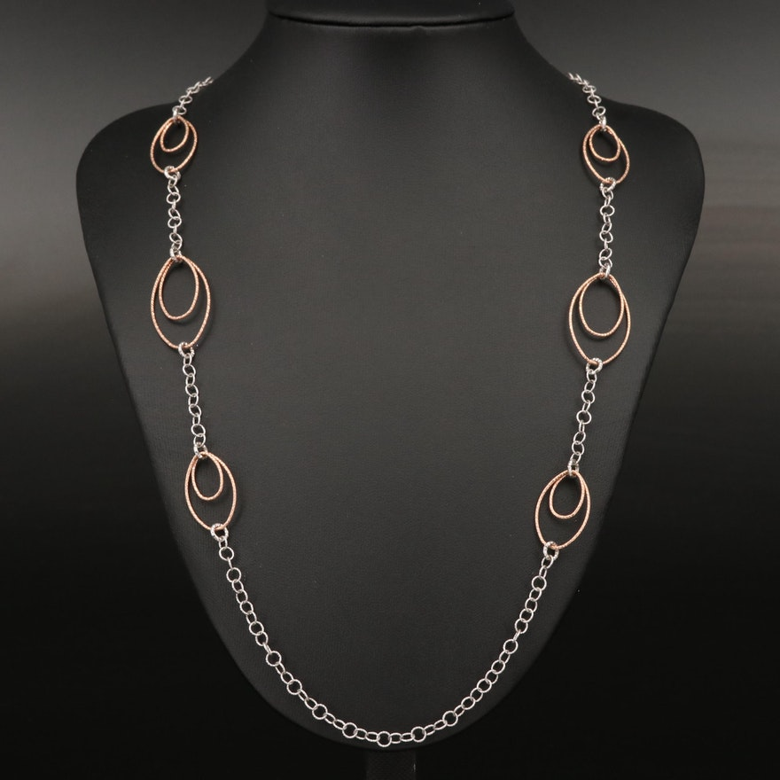 Sterling Oval Link Station Necklace