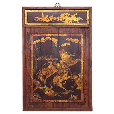 Chinoiserie Gold Leaf Wooden Panel of Samurai on Horseback, 20th Century