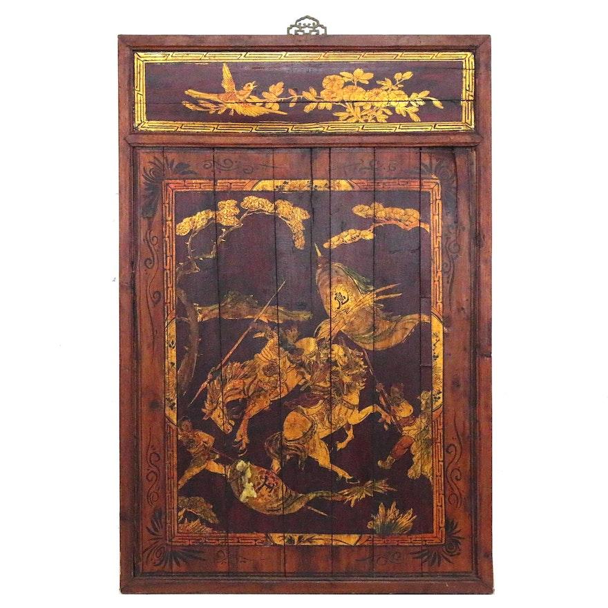 Chinoiserie Gold Leaf Wooden Panel of Samurai on Horseback, 20th Century