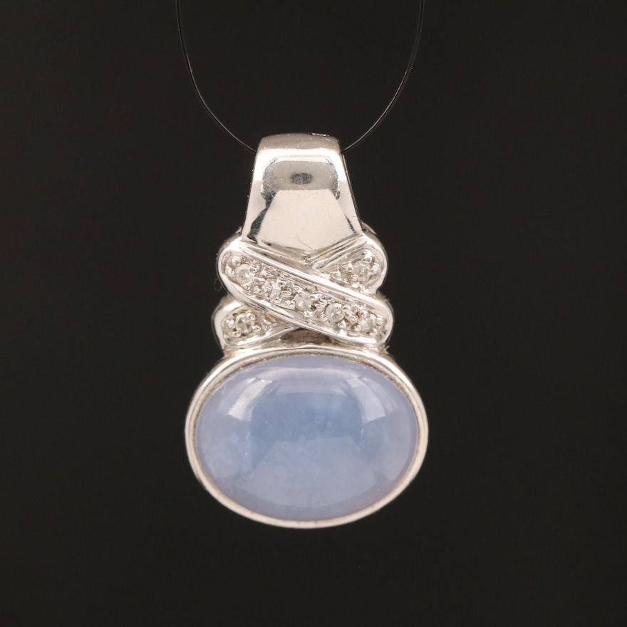 14K Chalcedony and Diamond Pendant
