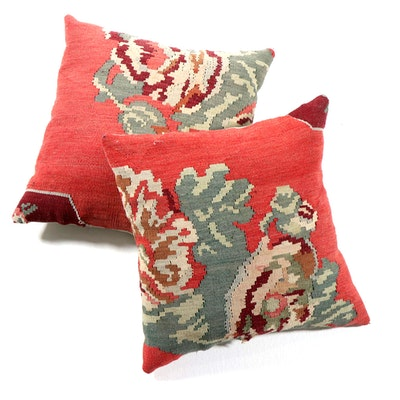 Handwoven Turkish Floral Kilim Throw Pillows