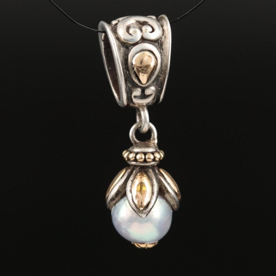 """John Hardy """"Jaisalmer"""" Sterling Silver Pearl Pendant with 18K Accents"""