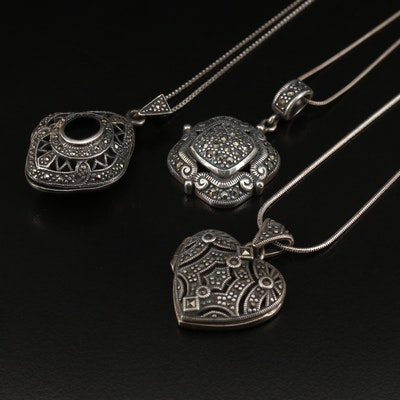 Sterling Silver Black Onyx and Marcasite Locket and Pendant Necklaces