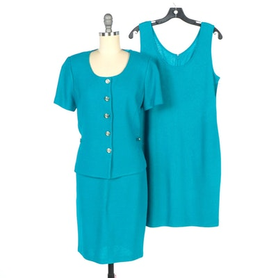 St. John Collection by Marie Gray Cerulean Blue Milano Knit Skirt Suit and Dress