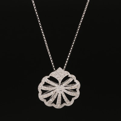 14K Diamond Scalloped Necklace